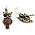 Antique Gold Tone Citrine Crystal Owl Drop Earrings - view 7