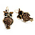 Antique Gold Tone Citrine Crystal Owl Drop Earrings - view 8