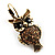 Antique Gold Tone Citrine Crystal Owl Drop Earrings - view 9