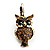 Antique Gold Tone Citrine Crystal Owl Drop Earrings - view 5