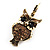 Antique Gold Tone Citrine Crystal Owl Drop Earrings - view 4