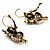 Antique Gold Tone Citrine Crystal Owl Drop Earrings - view 3