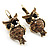 Antique Gold Tone Citrine Crystal Owl Drop Earrings - view 10