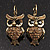 Antique Gold Tone Citrine Crystal Owl Drop Earrings - view 2