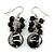 Black & Transparent Glass Bead Drop Earrings (Silver Tone Metal) - 4.5cm Length