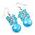 Light Blue Glass Bead Drop Earrings (Silver Tone Metal) - 4.5cm Length - view 3