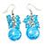 Light Blue Glass Bead Drop Earrings (Silver Tone Metal) - 4.5cm Length - view 5