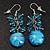 Light Blue Glass Bead Drop Earrings (Silver Tone Metal) - 4.5cm Length - view 2