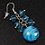 Light Blue Glass Bead Drop Earrings (Silver Tone Metal) - 4.5cm Length - view 4