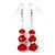 Silver Tone Red Acrylic Bead Diamante Drop Earrings - 6cm Length