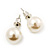 Light Cream Lustrous Faux Pearl Stud Earrings (Silver Tone Metal) - 9mm Diameter - view 2