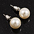 Light Cream Lustrous Faux Pearl Stud Earrings (Silver Tone Metal) - 9mm Diameter
