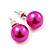 Deep Pink  Lustrous Faux Pearl Stud Earrings (Silver Tone Metal) - 9mm Diameter - view 3
