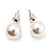 White Lustrous Faux Pearl Stud Earrings (Silver Tone Metal) - 9mm Diameter - view 3