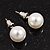 White Lustrous Faux Pearl Stud Earrings (Silver Tone Metal) - 9mm Diameter