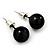 Black Acrylic Stud Earrings (Silver Tone Metal) - 7mm Diameter