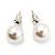 White Lustrous Faux Pearl Stud Earrings (Silver Tone Metal) - 7mm Diameter