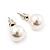 White Lustrous Faux Pearl Stud Earrings (Silver Tone Metal) - 7mm Diameter - view 4