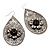 Antique Silver Teardrop Filigree Floral Drop Earrings - 8cm Length