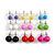 7mm, 9mm, 11mm Multicoloured Acrylic Bead Set of 9 Stud Earring (Silver Metal Finish) - view 4