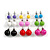 7mm, 9mm, 11mm Multicoloured Acrylic Bead Set of 9 Stud Earring (Silver Metal Finish) - view 5