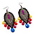 Gun Metal Multicoloured Acrylic Bead Drop Earrings - 10cm Length - view 3
