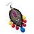 Gun Metal Multicoloured Acrylic Bead Drop Earrings - 10cm Length - view 4