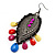 Gun Metal Multicoloured Acrylic Bead Drop Earrings - 10cm Length - view 2