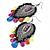 Gun Metal Multicoloured Acrylic Bead Drop Earrings - 10cm Length - view 5