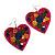 Deep Pink Wood Style Heart Drop Earrings (Silver Tone Finish) - 7.5cm Length