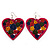 Deep Pink Wood Style Heart Drop Earrings (Silver Tone Finish) - 7.5cm Length - view 3