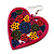 Deep Pink Wood Style Heart Drop Earrings (Silver Tone Finish) - 7.5cm Length - view 2