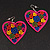 Deep Pink Wood Style Heart Drop Earrings (Silver Tone Finish) - 7.5cm Length - view 4