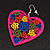 Deep Pink Wood Style Heart Drop Earrings (Silver Tone Finish) - 7.5cm Length - view 5