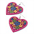Deep Pink Wood Style Heart Drop Earrings (Silver Tone Finish) - 7.5cm Length - view 7