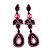 Pink Swarovski Crystal Teardrop-Shaped Long Earrings (Black Tone Metal) - 8.5cm Length - view 7