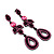 Pink Swarovski Crystal Teardrop-Shaped Long Earrings (Black Tone Metal) - 8.5cm Length - view 8