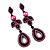 Pink Swarovski Crystal Teardrop-Shaped Long Earrings (Black Tone Metal) - 8.5cm Length - view 2