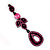 Pink Swarovski Crystal Teardrop-Shaped Long Earrings (Black Tone Metal) - 8.5cm Length - view 3