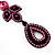 Pink Swarovski Crystal Teardrop-Shaped Long Earrings (Black Tone Metal) - 8.5cm Length - view 5
