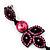Pink Swarovski Crystal Teardrop-Shaped Long Earrings (Black Tone Metal) - 8.5cm Length - view 6