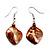 Light Brown Shell Bead Drop Earrings (Silver Tone)