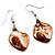 Light Brown Shell Bead Drop Earrings (Silver Tone) - view 2