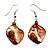 Light Brown Shell Bead Drop Earrings (Silver Tone) - view 4