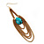 Gold Plated Turquoise Style Stone Chain Drop Earrings - 10cm Length - view 4