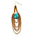 Gold Plated Turquoise Style Stone Chain Drop Earrings - 10cm Length - view 8