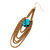 Gold Plated Turquoise Style Stone Chain Drop Earrings - 10cm Length - view 9