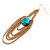 Gold Plated Turquoise Style Stone Chain Drop Earrings - 10cm Length - view 10