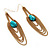 Gold Plated Turquoise Style Stone Chain Drop Earrings - 10cm Length - view 7