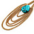 Gold Plated Turquoise Style Stone Chain Drop Earrings - 10cm Length - view 5